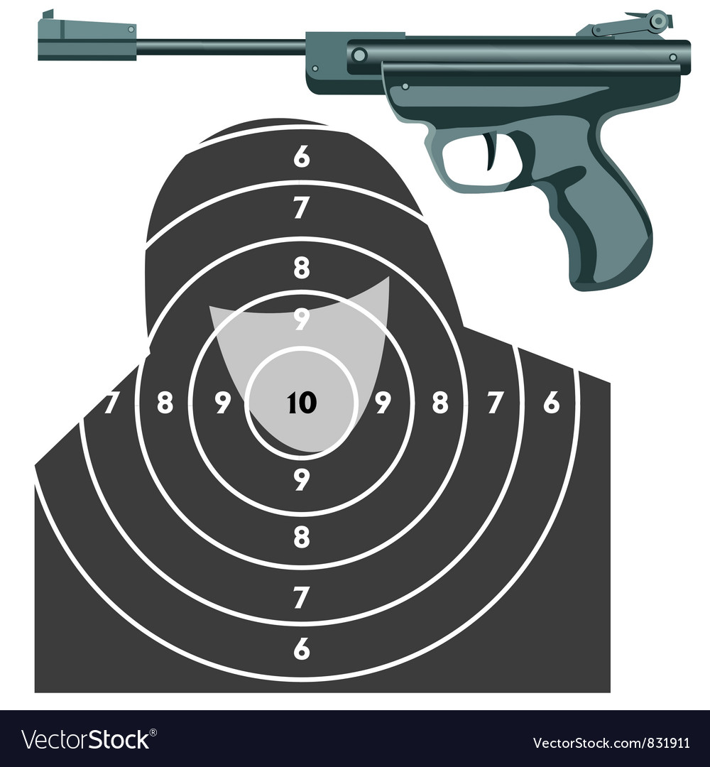 Firearm the gun against the target vector | Price: 1 Credit (USD $1)