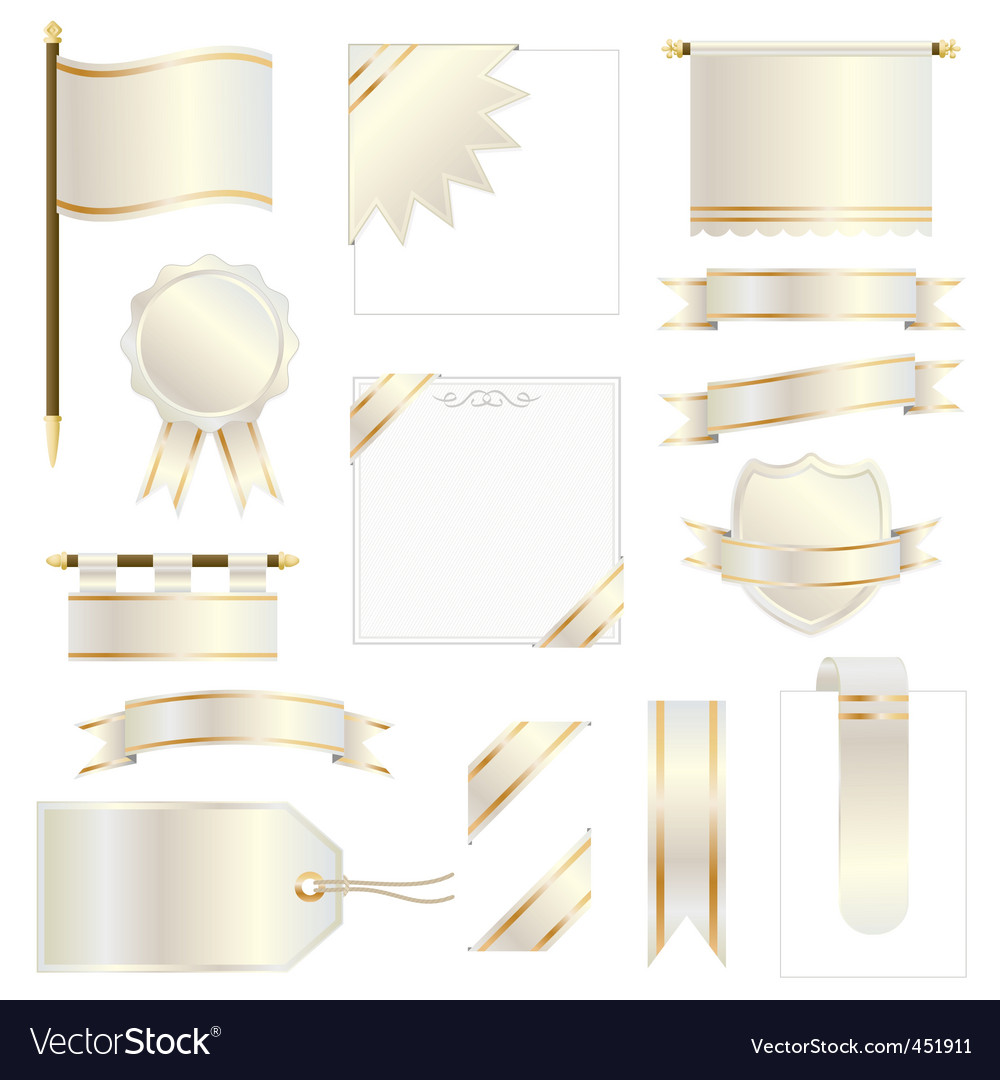 Gold flags and ribbons vector | Price: 1 Credit (USD $1)