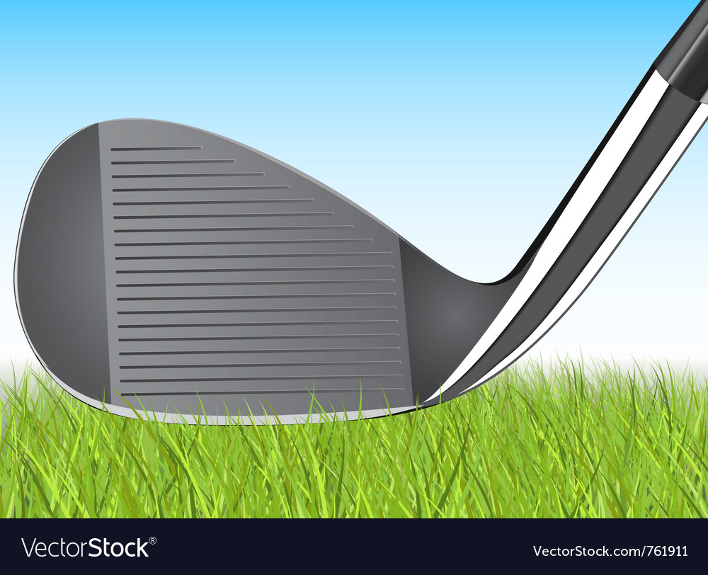Golf club iron in the grass vector | Price: 1 Credit (USD $1)