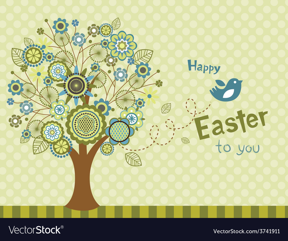Happy easter bird - greeting card vector | Price: 1 Credit (USD $1)