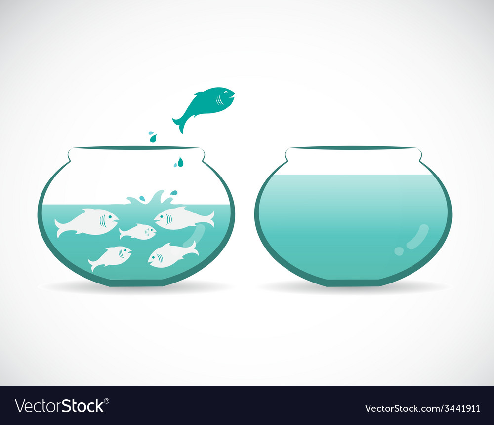 Image of an fish jumping out of aquarium vector