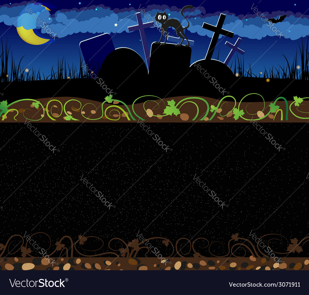 Night cemetery and black cat vector | Price: 1 Credit (USD $1)