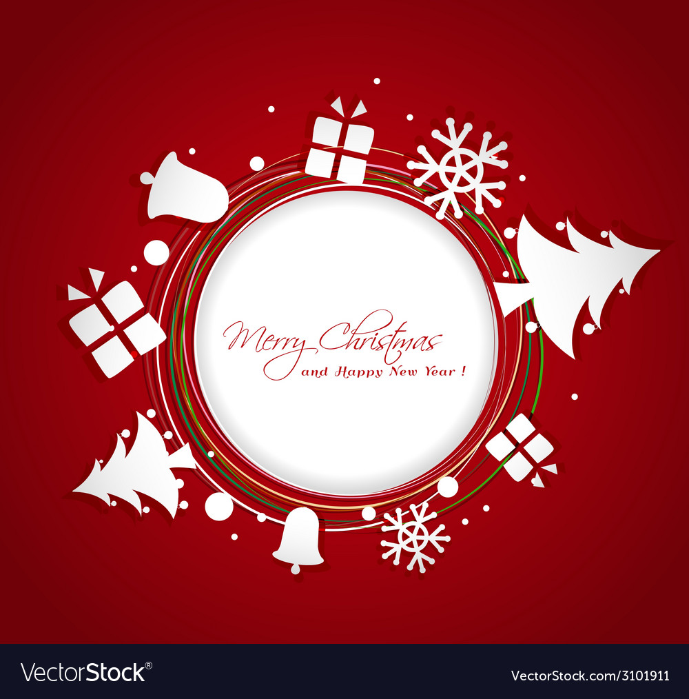 Paper christmas ornaments greeting card vector | Price: 1 Credit (USD $1)