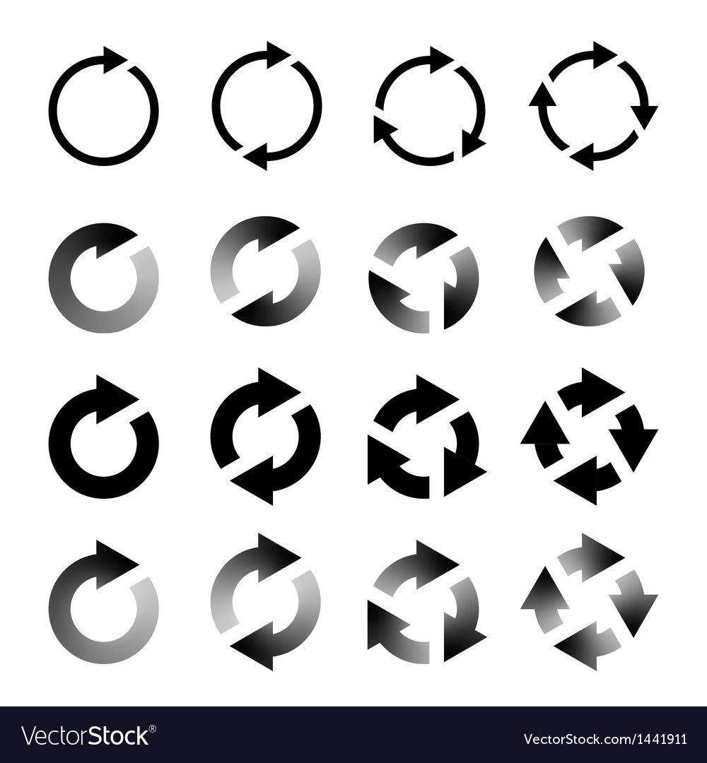 Rotating arrows set refresh reload recycle vector | Price: 1 Credit (USD $1)