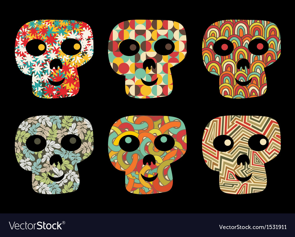 Set of cute and funny skulls vector | Price: 1 Credit (USD $1)