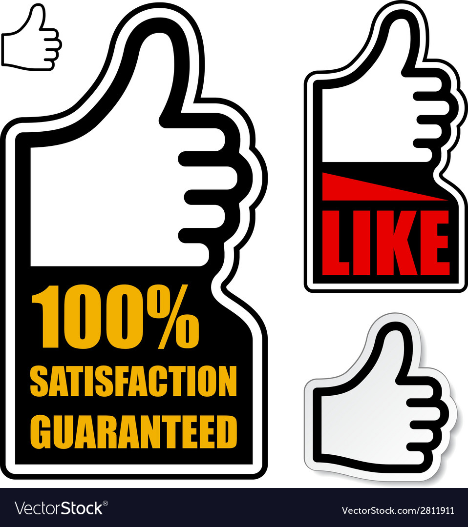 Thumb up satisfaction guaranteed label vector | Price: 1 Credit (USD $1)