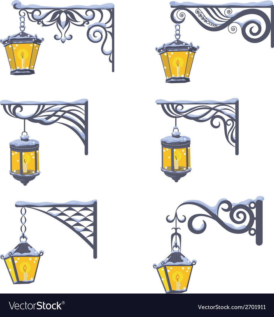 Vintage street lanterns with snow vector | Price: 1 Credit (USD $1)