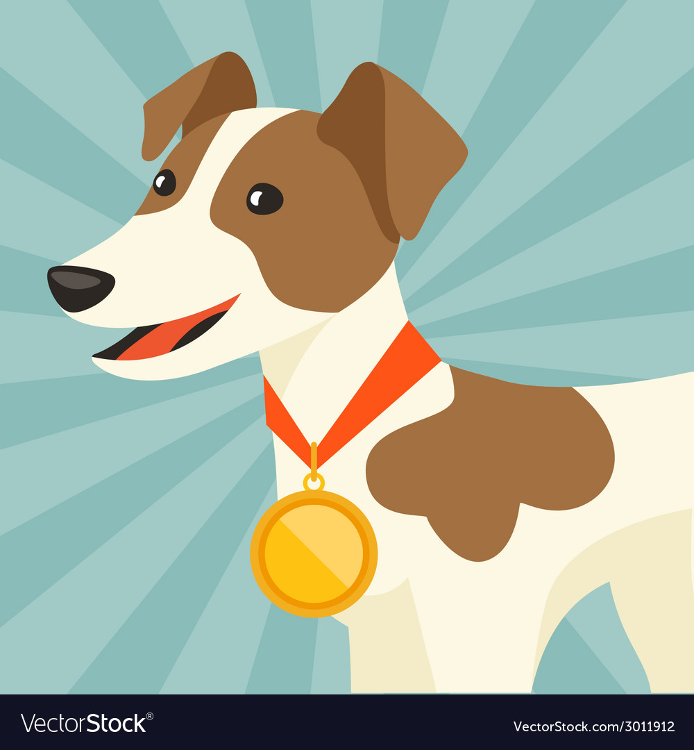 Background with dog champion winning gold medal vector | Price: 1 Credit (USD $1)