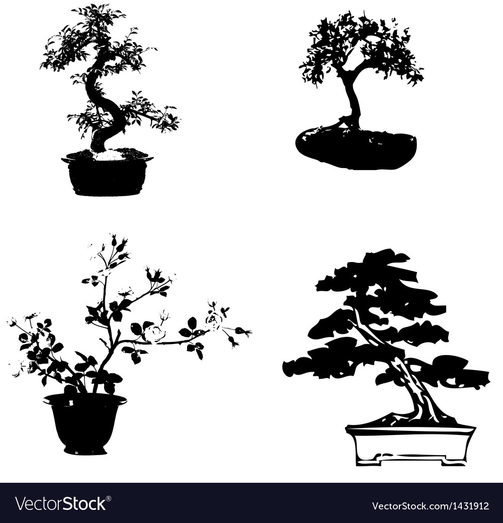 Bonsai sillhouette vector | Price: 1 Credit (USD $1)