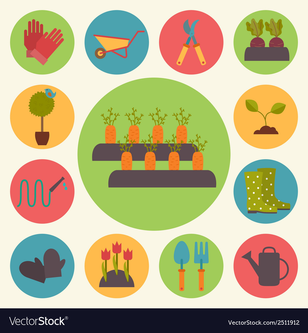 Gardening garden icons set vector | Price: 1 Credit (USD $1)
