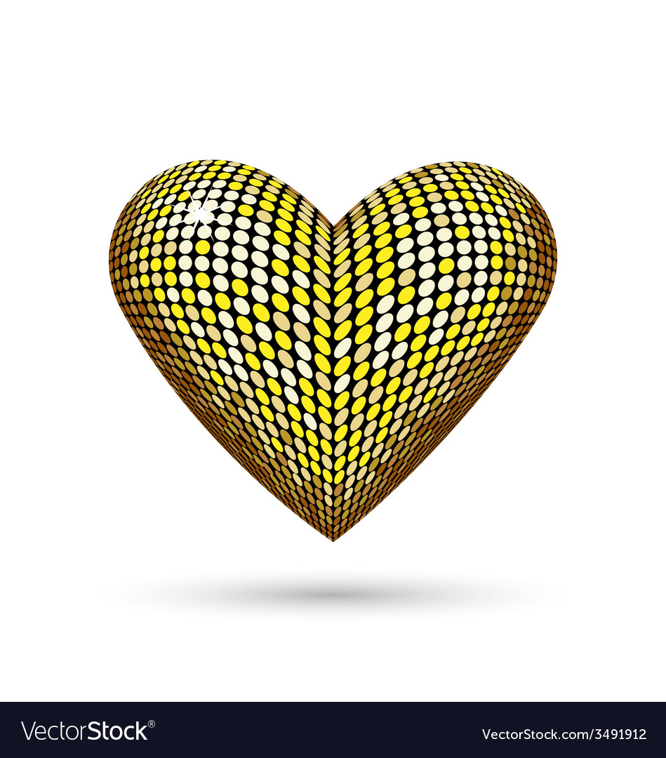 Golden heart isolated on white vector | Price: 1 Credit (USD $1)