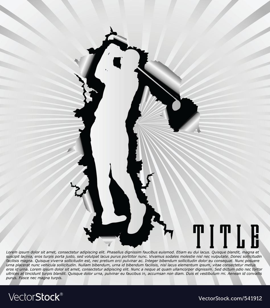 Golf silhouette break through white background vector | Price: 1 Credit (USD $1)