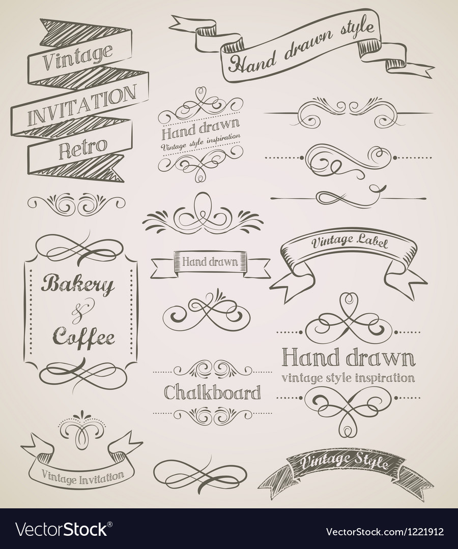 Hand drawn vintage elements vector | Price: 1 Credit (USD $1)