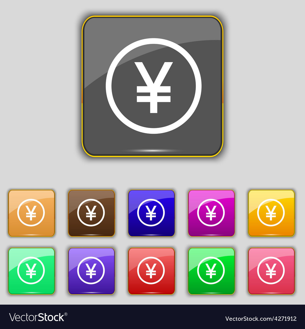 Japanese yuan icon sign set with eleven colored vector | Price: 1 Credit (USD $1)