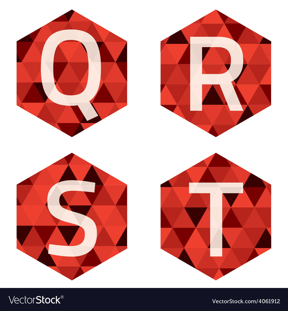 Modern style white alphabets on red hexagon vector | Price: 1 Credit (USD $1)