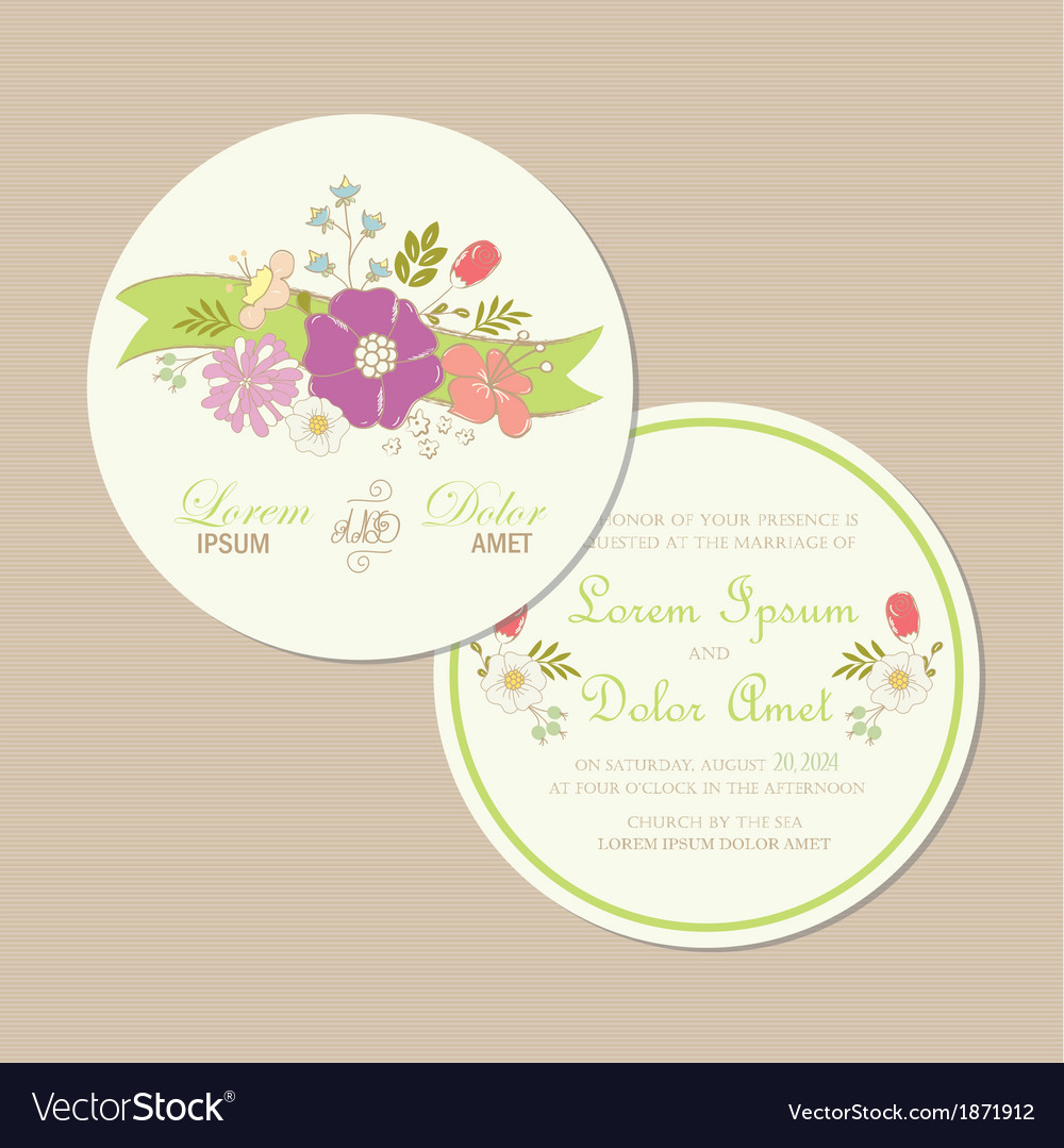 Round wedding card vector | Price: 1 Credit (USD $1)