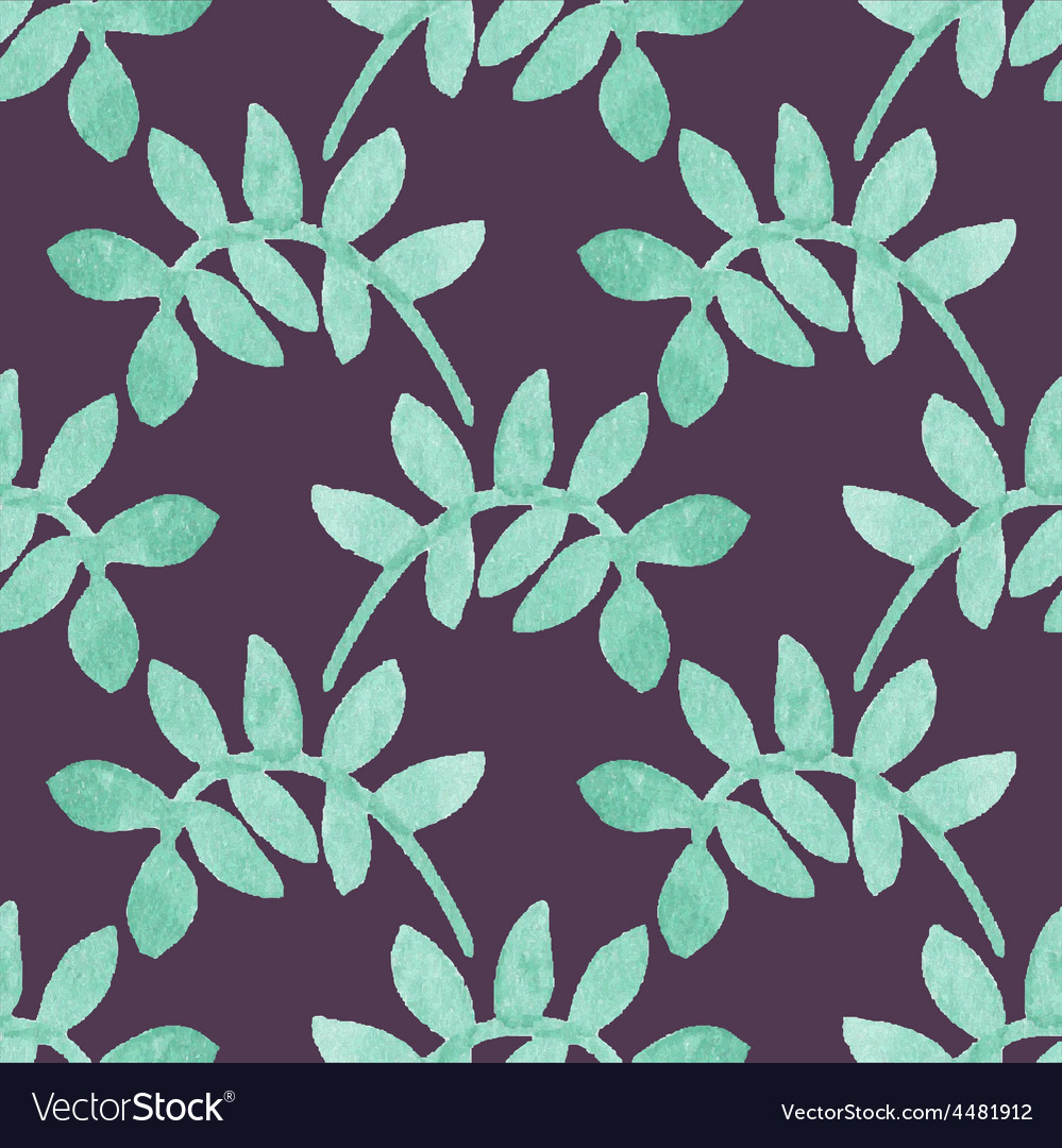 Seamless watercolor pattern with floral elements vector | Price: 1 Credit (USD $1)