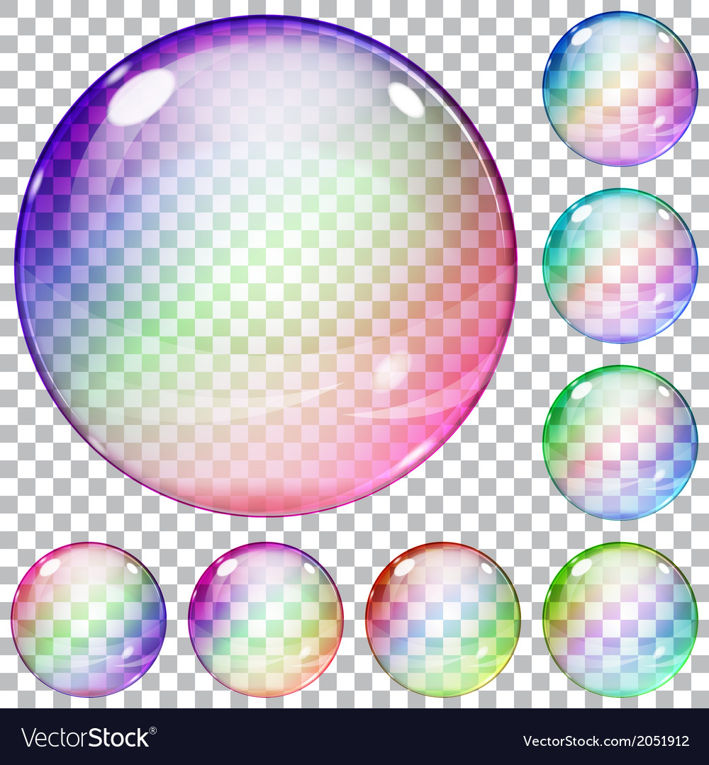 Set of multicolored transparent glass spheres vector | Price: 1 Credit (USD $1)