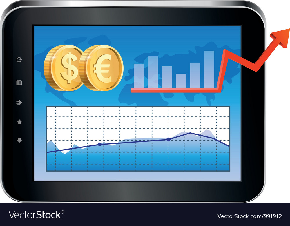 Tablet pc with finance concept vector | Price: 3 Credit (USD $3)