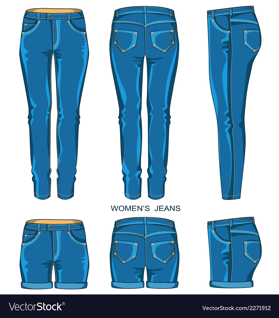 Women jeans pants and shorts vector | Price: 1 Credit (USD $1)