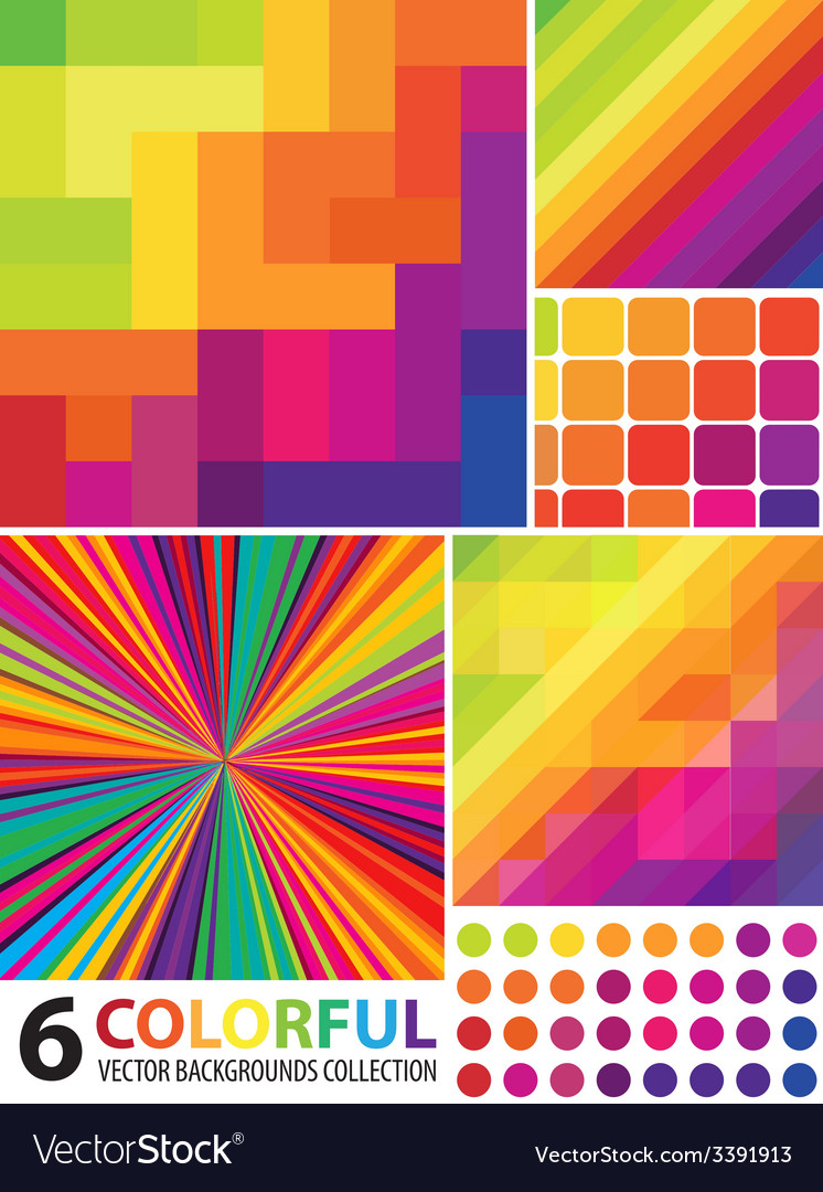 6 abstract colorful backgrounds vector | Price: 1 Credit (USD $1)