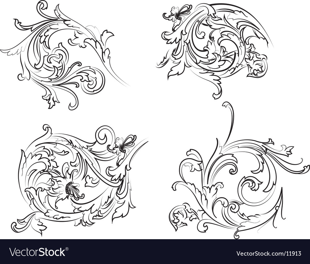 Baroque rosette vector | Price: 1 Credit (USD $1)