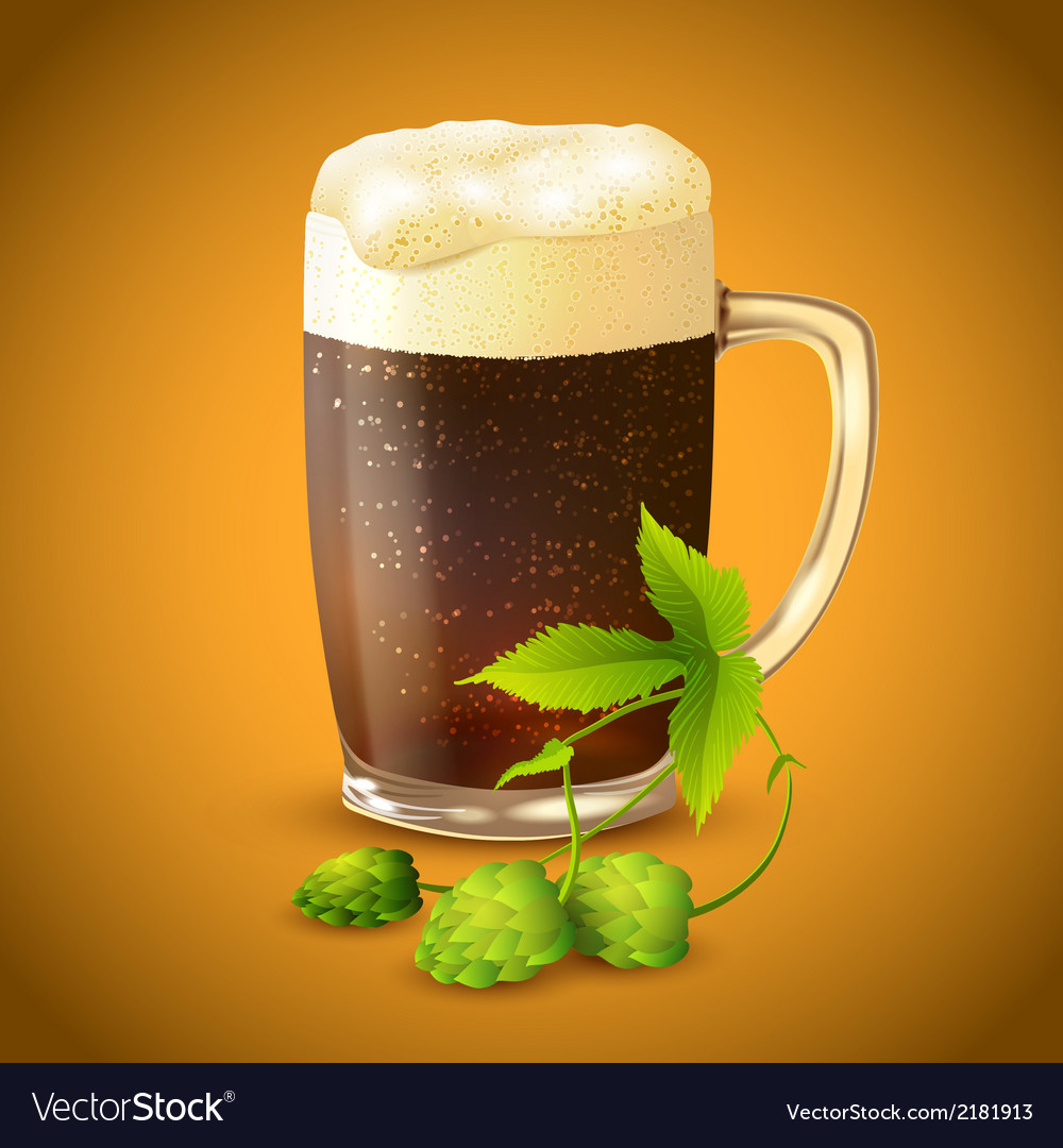 Dark beer and hop background vector | Price: 1 Credit (USD $1)