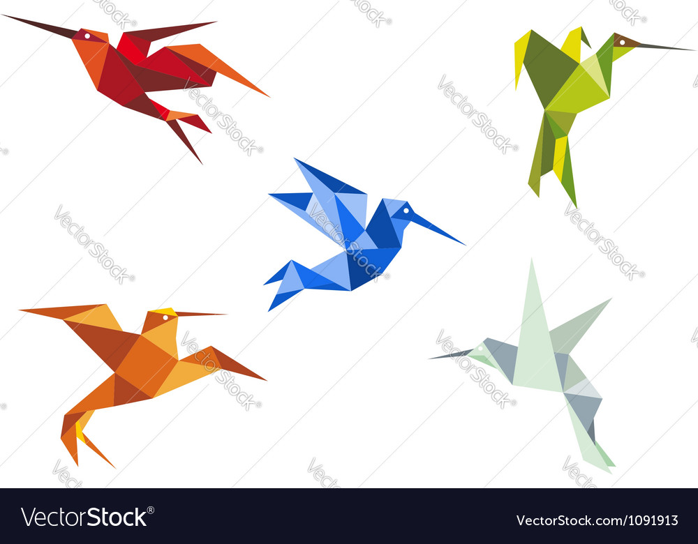Flying color origami hummingbirds vector | Price: 1 Credit (USD $1)