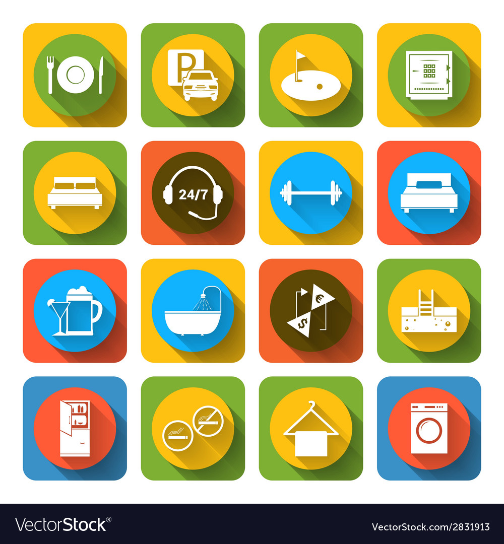 Hotel icons set flat vector | Price: 1 Credit (USD $1)