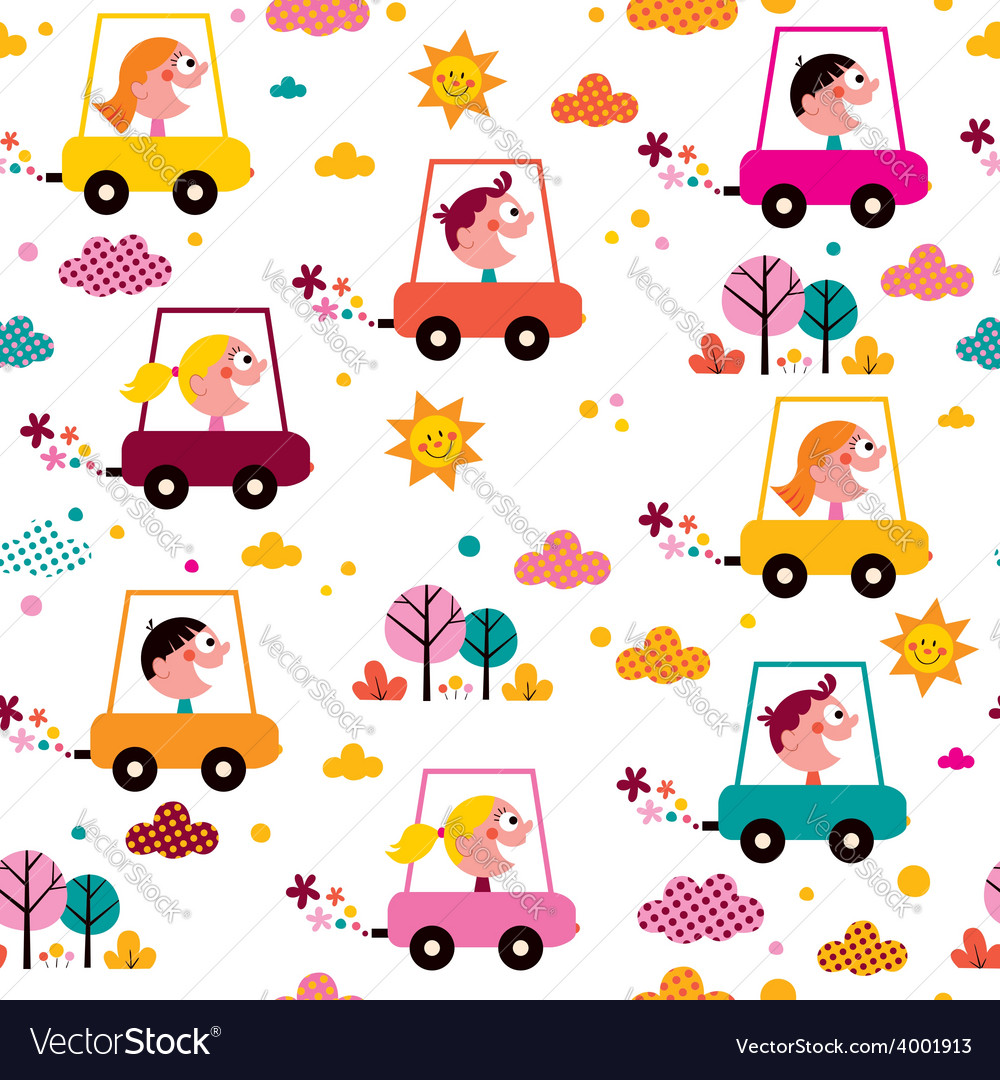 Kids driving toy cars pattern vector   Price: 1 Credit (USD $1)