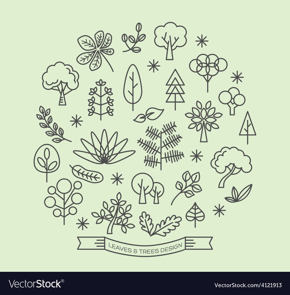 Leaves and trees linear outline icons set vector | Price: 1 Credit (USD $1)