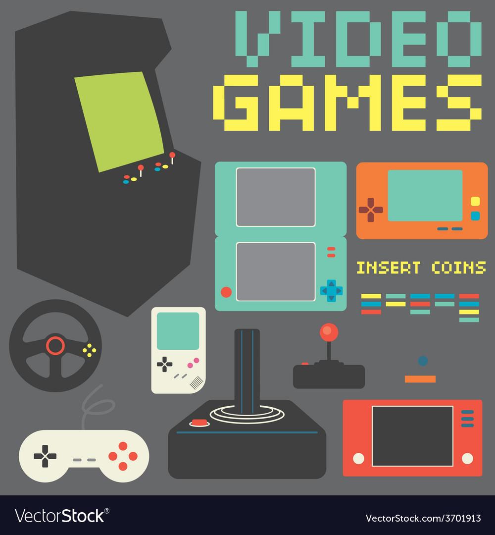 Video games icon set vector | Price: 1 Credit (USD $1)