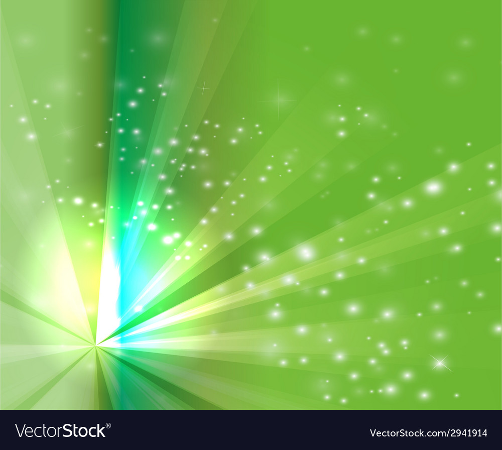 Abstract rays burst light on green background vector | Price: 1 Credit (USD $1)