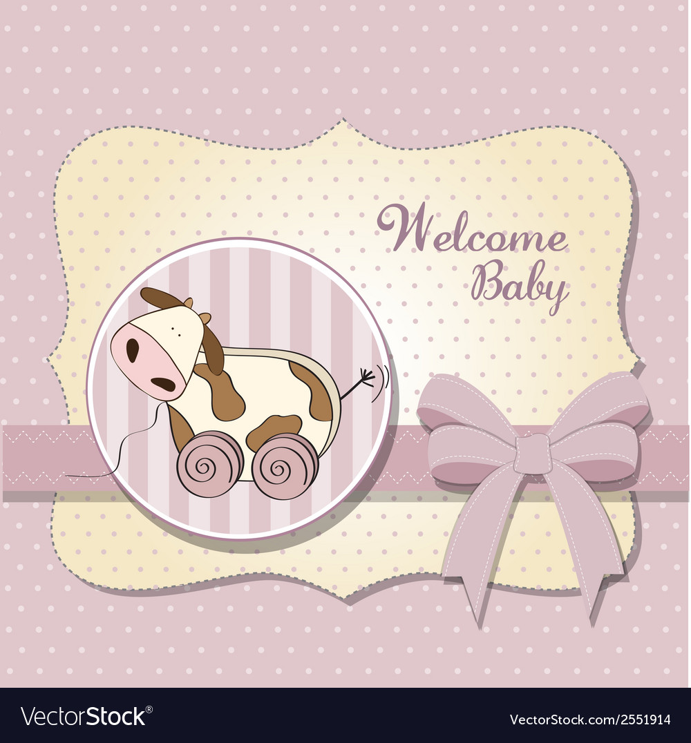 Baby shower card with cute cow toy vector | Price: 1 Credit (USD $1)