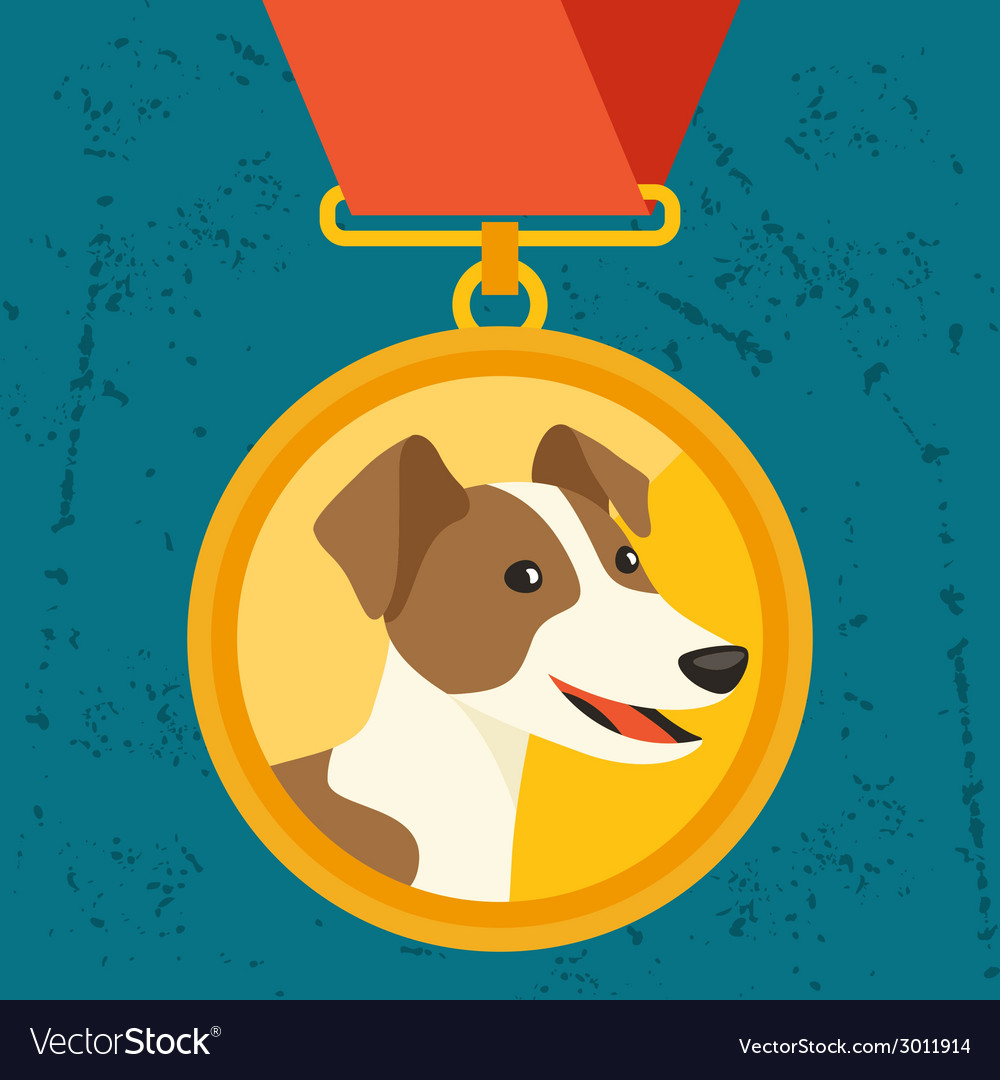 Background with gold medal and dog champion vector | Price: 1 Credit (USD $1)