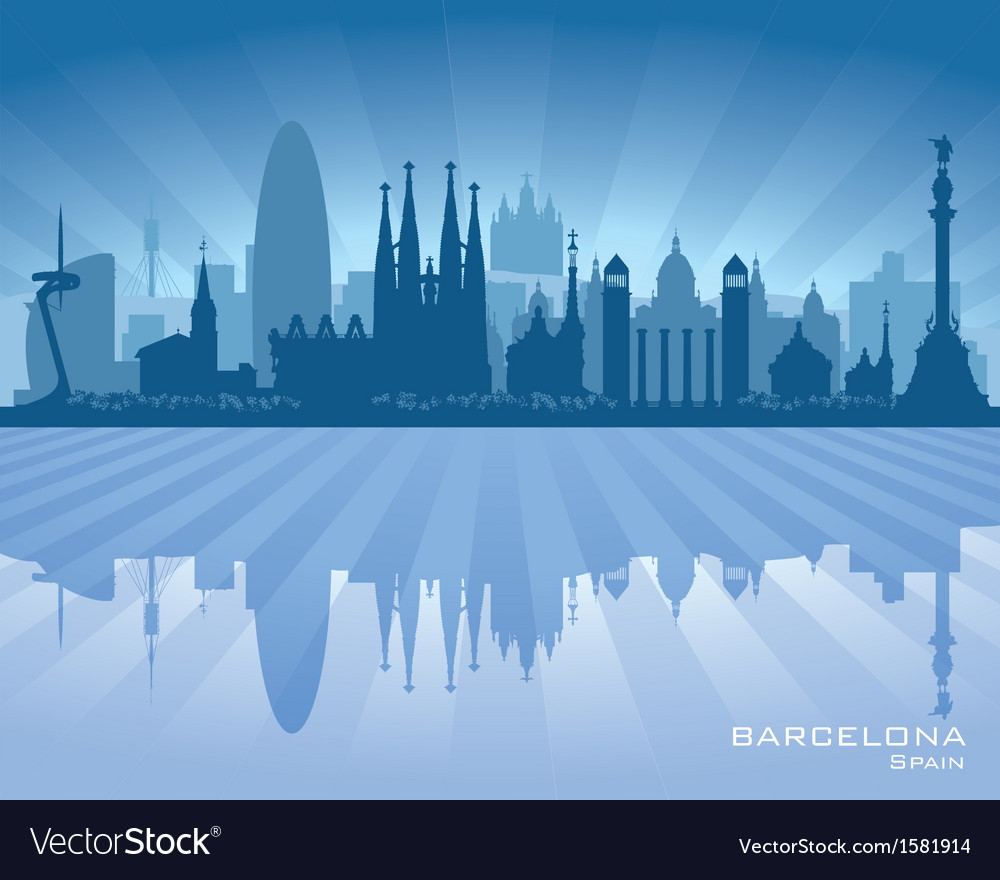 Barcelona spain city skyline silhouette vector | Price: 1 Credit (USD $1)