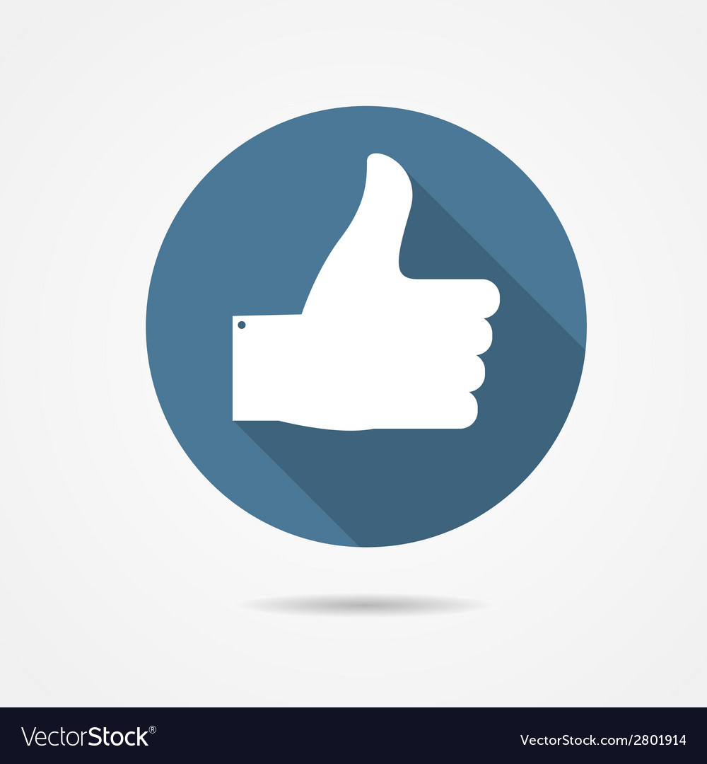 Blue thumb up icon with long shadow vector | Price: 1 Credit (USD $1)