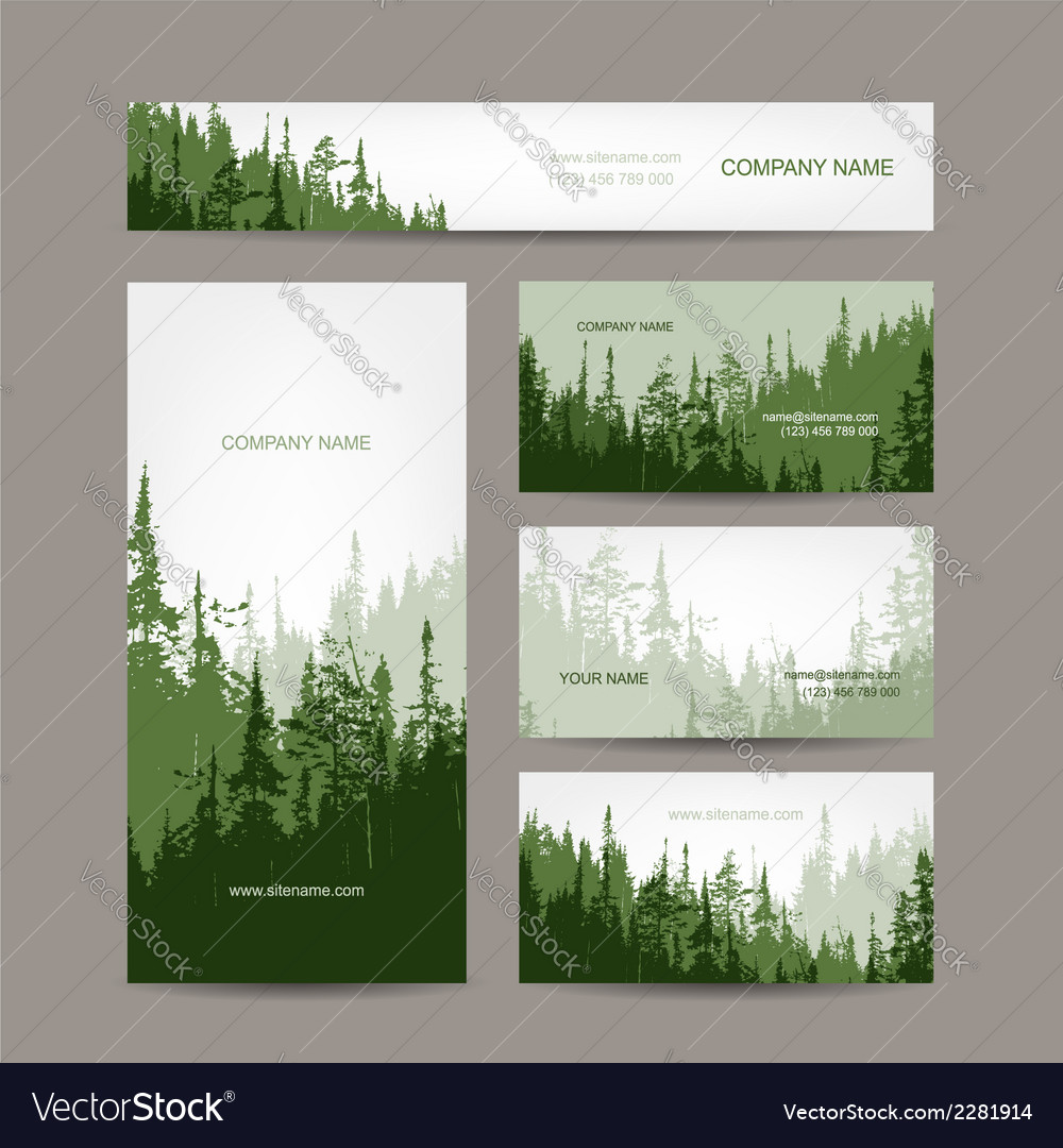 Business cards design with green forest background vector | Price: 1 Credit (USD $1)
