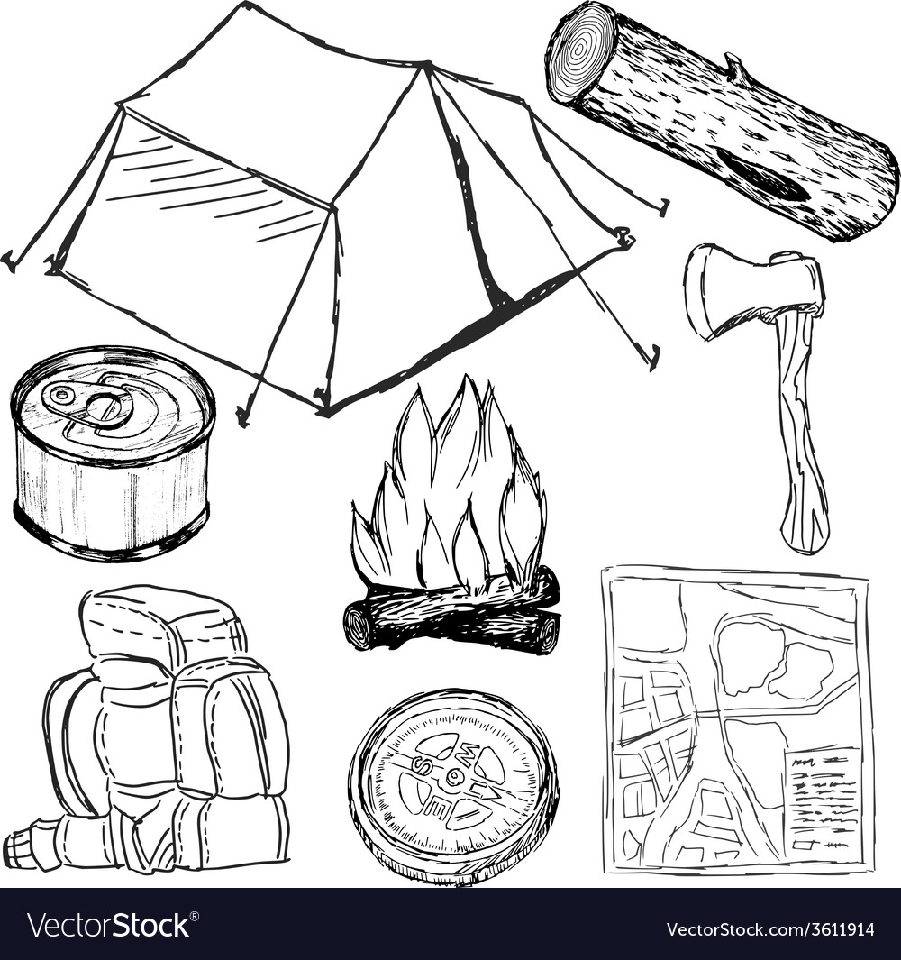 Camp objects vector | Price: 1 Credit (USD $1)