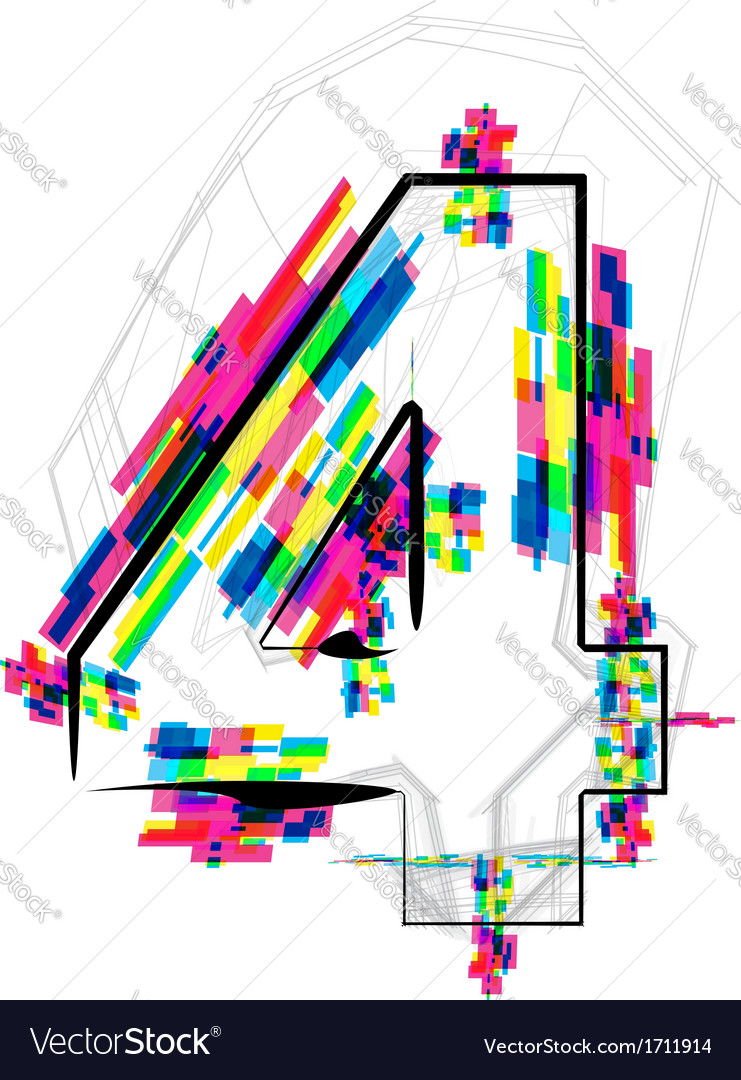 Colorful number 4 vector | Price: 1 Credit (USD $1)