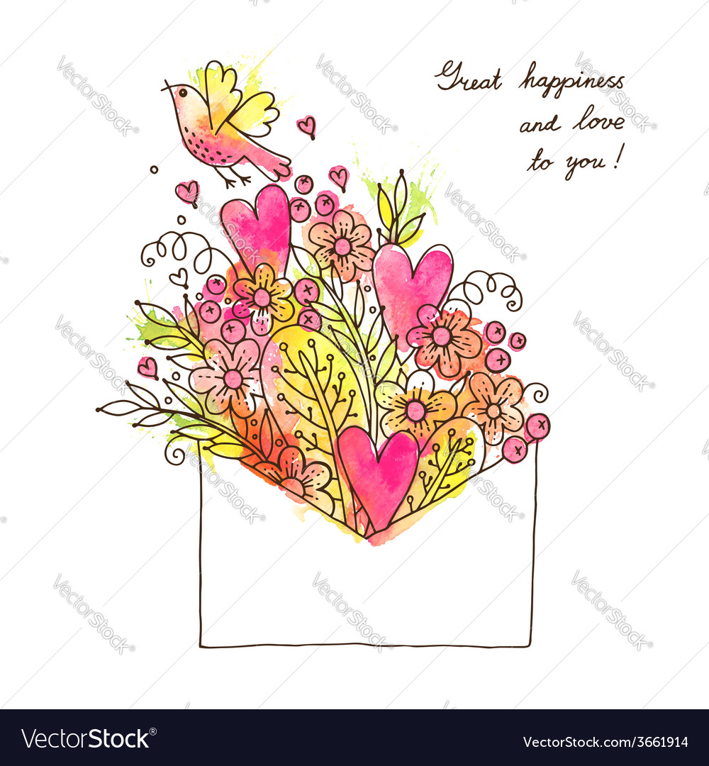 Greeting card with hearts bird and flowers vector | Price: 1 Credit (USD $1)