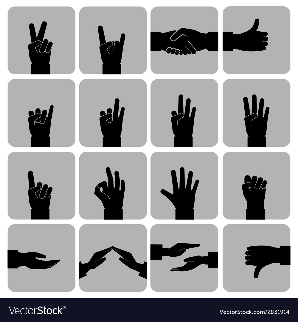 Hands icons set black vector | Price: 1 Credit (USD $1)