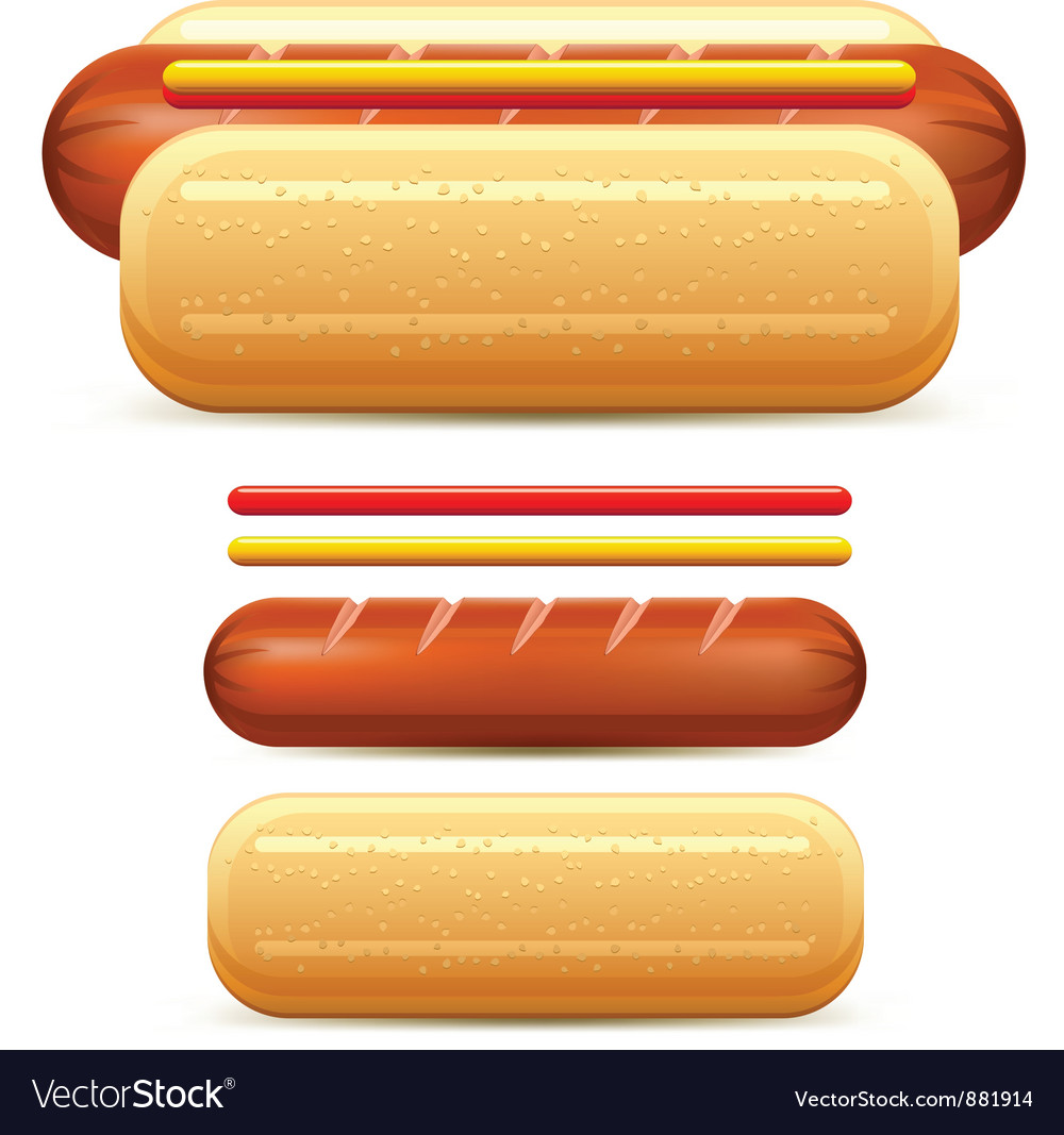 Hotdog ketchup mustard stilize vector | Price: 3 Credit (USD $3)