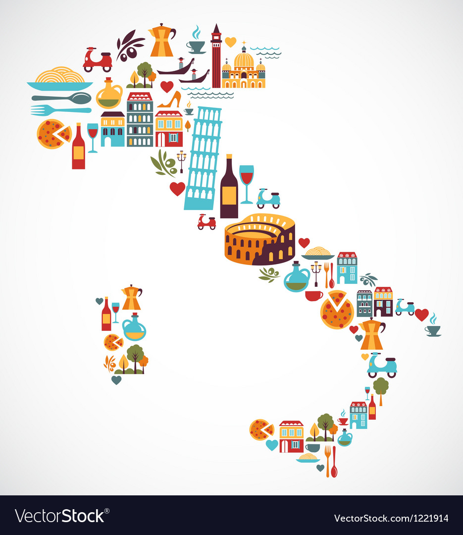Italy map with icons vector | Price: 3 Credit (USD $3)
