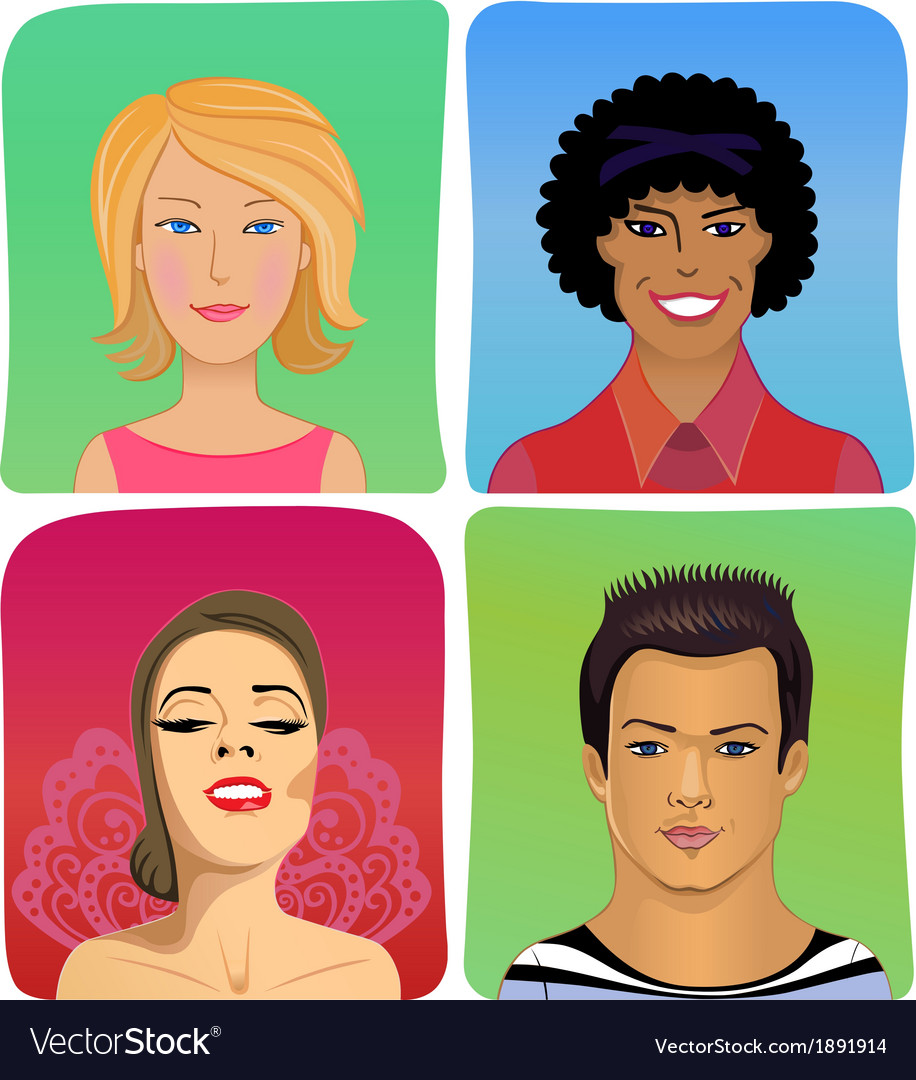 Man woman profile avatar set vector | Price: 1 Credit (USD $1)