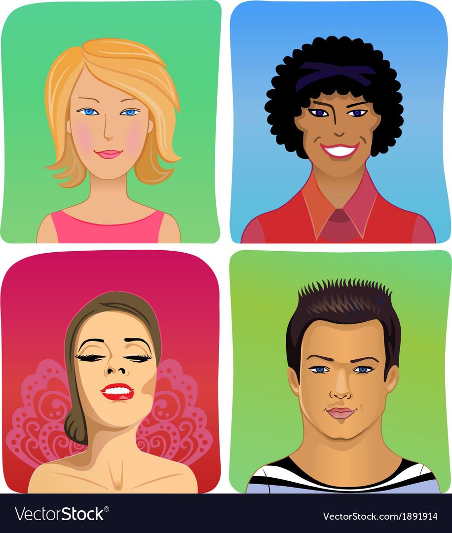 Man woman profile avatar set vector | Price: 1 Credit (USD $1)