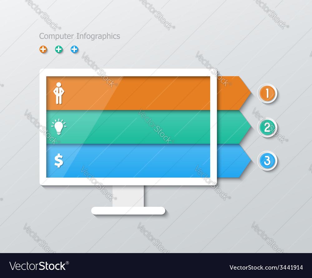 Paper computer infographics vector | Price: 1 Credit (USD $1)