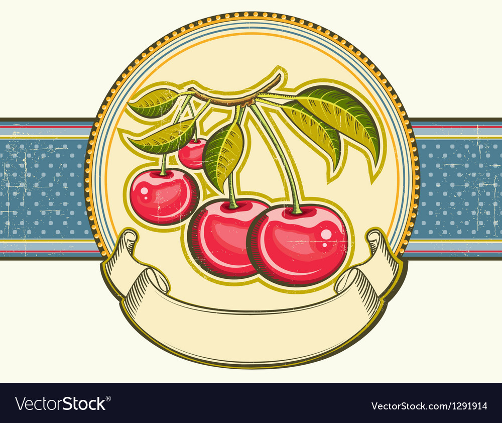 Red cherries background vintage label on old paper vector | Price: 1 Credit (USD $1)
