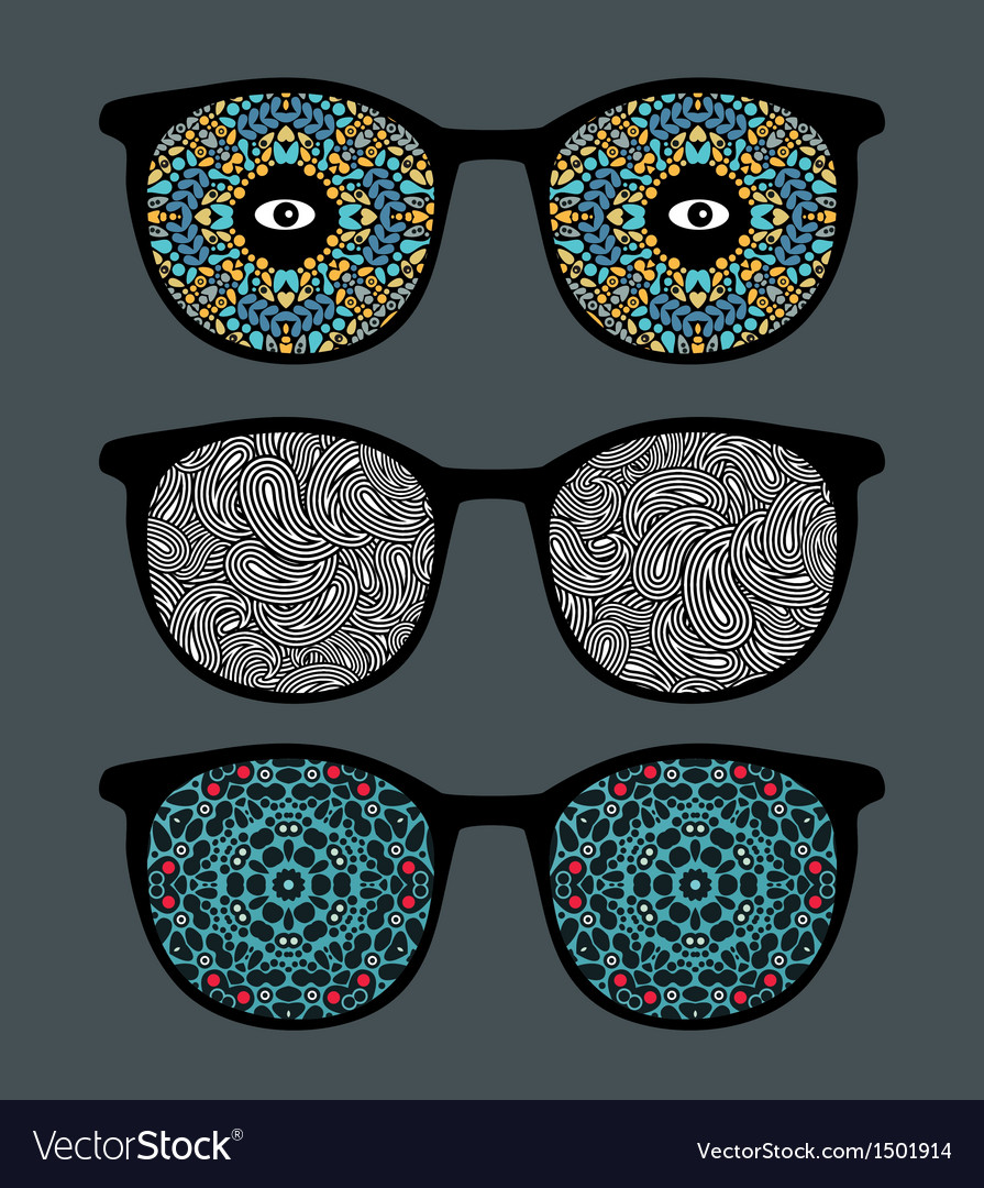 Retro sunglasses with psychedelic reflection vector | Price: 1 Credit (USD $1)