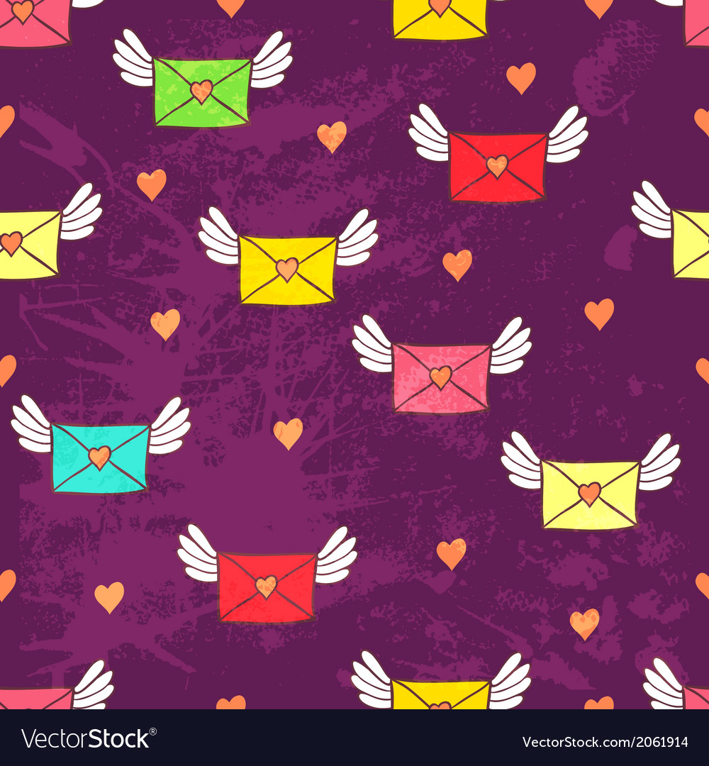 Seamless pattern with post letters love mail copy vector | Price: 1 Credit (USD $1)